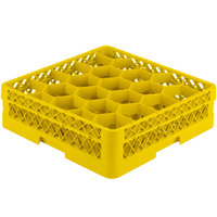 Vollrath TR11A Traex Rack Max Full-Size Yellow 20-Compartment 4 13/16 inch Glass Rack with Open Rack Extender On Top