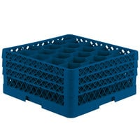 Vollrath TR11GGA Traex Rack Max Full-Size Royal Blue 20-Compartment 7 7/8 inch Glass Rack with Open Rack Extender On Top