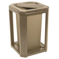 Rubbermaid 396600 Landmark Series Classic Container Driftwood Square Polycarbonate Ash/Trash Frame with FG356900 Rigid Plastic Liner 20 Gallon (FG396600DWOOD)