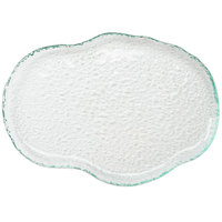 10 Strawberry Street HD2512OC Izabel Lam Morning Tide 8 1/2 inch x 12 inch Ocean Clear Glass Oyster Platter - 12 / Case