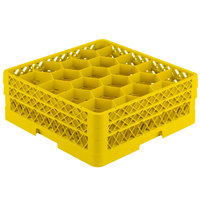 Vollrath TR11GG Traex Rack Max Full-Size Yellow 20-Compartment 6 3/8 inch Glass Rack