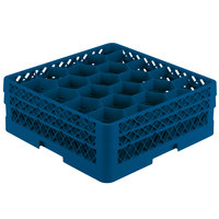 Vollrath TR11GA Traex Rack Max Full-Size Royal Blue 20-Compartment 6 3/8 inch Glass Rack with Open Rack Extender On Top