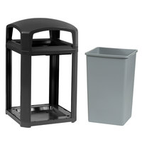 Rubbermaid 397000 Landmark Series Classic Container Black Square Polycarbonate Dome Top Frame with FG395800 Rigid Plastic Liner 35 Gallon (FG397000BLA)