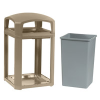 Rubbermaid 397000 Landmark Series Classic Container Driftwood Square Polycarbonate Dome Top Frame with FG395800 Rigid Plastic Liner 35 Gallon (FG397000DWOOD)