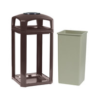 Rubbermaid 397501 Landmark Series Classic Container Sable Square Polycarbonate Dome Top Frame with Ashtray and FG395900 Rigid Plastic Liner 50 Gallon (FG397501SBLE)