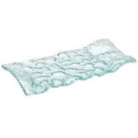 10 Strawberry Street HD2957OC Izabel Lam Morning Tide 6 1/2 inch x 14 inch Ocean Clear Thick Fused Glass Platter - 12 / Case
