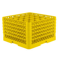 Vollrath TR6BBBBA Traex Full-Size Yellow 25-Compartment 11 inch Glass Rack with Open Rack Extender On Top