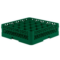 Vollrath TR6A Traex Full-Size Green 25-Compartment 4 13/16 inch Glass Rack with Open Rack Extender On Top