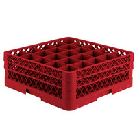 Vollrath TR6BB Traex Full-Size Red 25-Compartment 6 3/8 inch Glass Rack