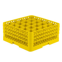 Vollrath TR6BBB Traex Full-Size Yellow 25-Compartment 7 7/8 inch Glass Rack