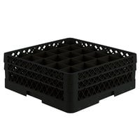 Vollrath TR6BB Traex Full-Size Black 25-Compartment 6 3/8 inch Glass Rack