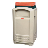 Rubbermaid FG396300 Plaza Beige Container with Side Opening Door and Tray Top  50 Gallon (FG396300BEIG)