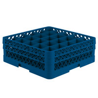 Vollrath TR6BA Traex Full-Size Royal Blue 25-Compartment 6 3/8 inch Glass Rack with Open Rack Extender On Top