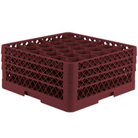 Vollrath TR12HHH Traex Rack Max Full-Size Burgundy 30-Compartment 7 7/8 inch Glass Rack