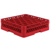 Vollrath TR12A Traex Rack Max Full-Size Red 30-Compartment 4 13/16 inch Glass Rack with Open Rack Extender On Top