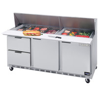 Beverage-Air SPED72-12-2 72 inch Refrigerated Salad / Sandwich Prep Table with Two Doors and Two Drawers