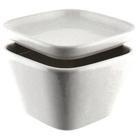 10 Strawberry Street WTR-3TPRBWL Whittier 5 oz. White Square Tapered Bowl with Removable Lid - 72 / Case