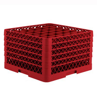 Vollrath TR7CCCCA Traex Full-Size Red 36-Compartment 11 inch Glass Rack with Open Rack Extender On Top
