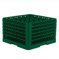 Vollrath TR7CCCCA Traex Full-Size Green 36-Compartment 11 inch Glass Rack with Open Rack Extender On Top