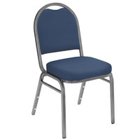National Public Seating 9204-SV Dome Style Stack Chair with 2 inch Padded Seat, Silvervein Metal Frame, and Midnight Blue Vinyl Upholstery