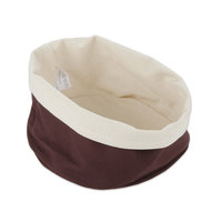 American Metalcraft TV4DC 7 1/2 inch Round Cream and Brown Canvas Bread Basket
