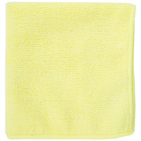 12 inch x 12 inch Yellow Microfiber Cleaning Cloth - 12 / Pack