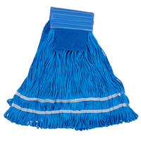 Medium 22 oz. Microfiber String Mop with Scrubber and 5 inch Band - Blue