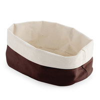 American Metalcraft TV8DC 9 7/8 inch Round Cream and Brown Canvas Bread Basket