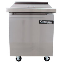 Continental Refrigerator SW27-12M 27 inch Mighty Top Sandwich Prep Refrigerator with Solid Door - 12 Pans