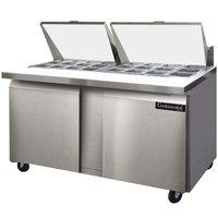 Continental Refrigerator SW60-24M 60 inch Mighty Top Two Door Sandwich Prep Refrigerator