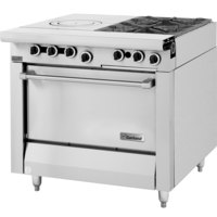 Garland M54S Master Series Natural Gas 2 Burner 34 inch Range with Front Fired Hot Top and Storage Base - 115,000 BTU