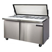 Continental Refrigerator SW60-24M-HGL 60 inch Mighty Top Two Door Sandwich Prep Refrigerator with Hinged Glass Lid