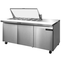 Continental Refrigerator SW72-18M 72 inch Mighty Top Sandwich Prep Refrigerator with Three Solid Doors