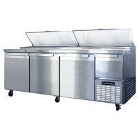 Continental Refrigerator CPA93 93 inch Pizza Prep Table with Three Full Doors and Half Door