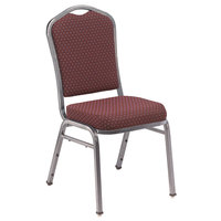 National Public Seating 9368-SV Silhouette Style Stack Chair with 2 inch Padded Seat, Silvervein Metal Frame, and Diamond Burgundy Fabric Upholstery