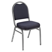 National Public Seating 9264-SV Dome Style Metal Stack Chair with 2 inch Padded Seat, Silvervein Metal Frame, and Diamond Navy Fabric Upholstery