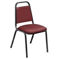 National Public Seating 9108-B Standard Style Stack Chair with 1 1/2 inch Padded Seat, Black Metal Frame, and Pleasant Burgundy Vinyl Upholstery