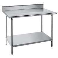 Advance Tabco KSS-365 36 inch x 60 inch 14 Gauge Work Table with Stainless Steel Undershelf and 5 inch Backsplash