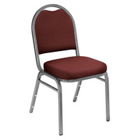 National Public Seating 9258-SV Dome Style Stack Chair with 2 inch Padded Seat, Silvervein Metal Frame, and Rich Maroon Fabric Upholstery