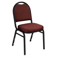 National Public Seating 9258-BT Dome Style Stack Chair with 2 inch Padded Seat, Black Sandtex Metal Frame, and Rich Maroon Fabric Upholstery