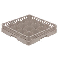 Vollrath TR4A Traex Full-Size Beige 16-Compartment 4 13/16 inch Cup Rack with Open Rack Extender On Top