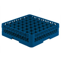 Vollrath TR9A Traex Full-Size Royal Blue 49-Compartment 4 13/16 inch Glass Rack with Open Rack Extender On Top