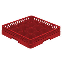 Vollrath TR4A Traex Full-Size Red 16-Compartment 4 13/16 inch Cup Rack with Open Rack Extender On Top