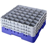 Cambro 36S1214168 Blue Camrack 36 Compartment 12 5/8 inch Glass Rack