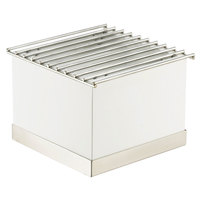 Cal-Mil 3011-55 Luxe White Metal Chafer Griddle with Stainless Steel Base - 12 inch x 12 inch x 8 1/4 inch