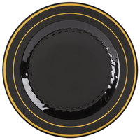 Fineline Silver Splendor 509-BKG 9 inch Black Plastic Plate with Gold Bands - 12/Pack