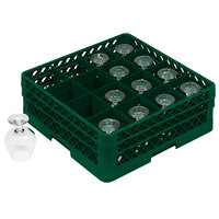 Vollrath TR4DDDA Traex Full-Size Green 16-Compartment 9 7/16 inch Cup Rack with Open Rack Extender On Top