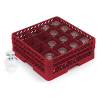 Vollrath TR4DDA Traex Full-Size Red 16-Compartment 7 7/8 inch Cup Rack with Open Rack Extender On Top