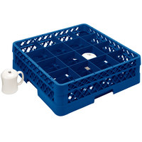 Vollrath TR4DDA Traex Full-Size Royal Blue 16-Compartment 7 7/8 inch Cup Rack with Open Rack Extender On Top
