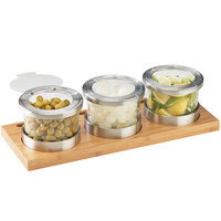 Cal-Mil 1850-4-60HL Mixology Bamboo Three 16 oz. Jar Horizontal Display with Hinged Lids - 16 inch x 6 inch x 4 inch
